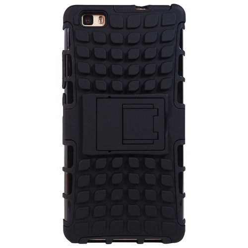 Exian Huawei P8 Lite Fitted Soft Shell Case with Kickstand - Black