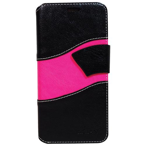 Étui folio portefeuille d'Exian pour Galaxy S7 Edge Wave - Noir - Rose