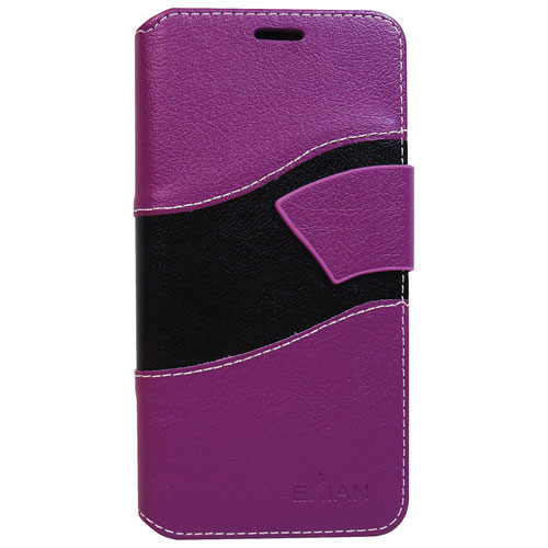 Exian Galaxy S7 Edge Wave Wallet Folio Case - Purple/Black