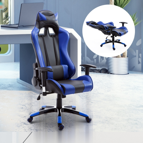 Superieur HOMCOM Gaming Racing Office Chair With Waist Neck Cushions Blue