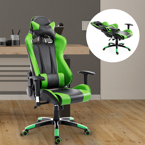 HOMCOM 360-degree Swivel Gaming Racing Office Chair with Waist Neck Cushions Green