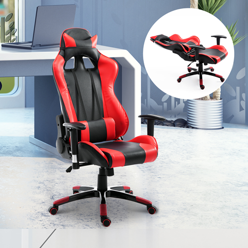 HOMCOM Gaming Racing Office Chair with Waist Neck Cushions Red