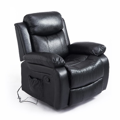 HOMCOM Deluxe Electronic Heated Massage Sofa Recliner Chair Leather Lounge Black