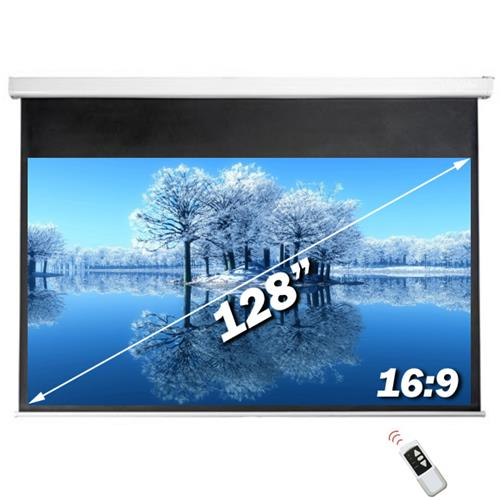 "Antra 128"" Electric Projection Screen With Remote Matte White 16:9 with 1.1 Gain 3D HDTV 1080p Ready"