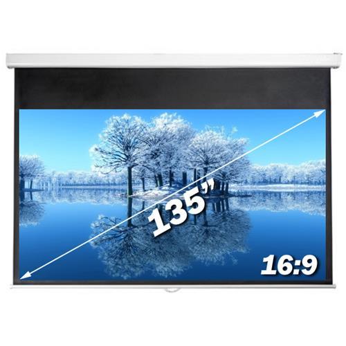 """Antra 135"""" Toile de Projection Electrique avec Telecomande Blanc Mat 16:9 Avec Gain 1.1 Compatible 3D HDTV 1080p"""