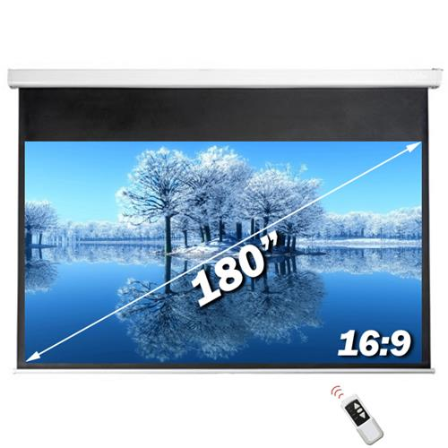 "Antra 180"" Electric Projection Screen With Remote Matte White 16:9 with 1.1 Gain 3D HDTV 1080p Ready"
