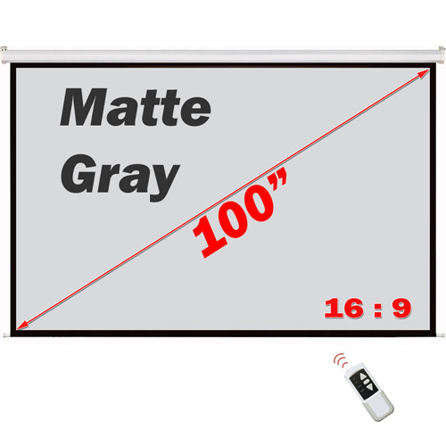"Antra 100"" Electric Projection Screen With Remote Matte Gray 16:9 with 1.1 Gain 3D HDTV 1080p Ready"