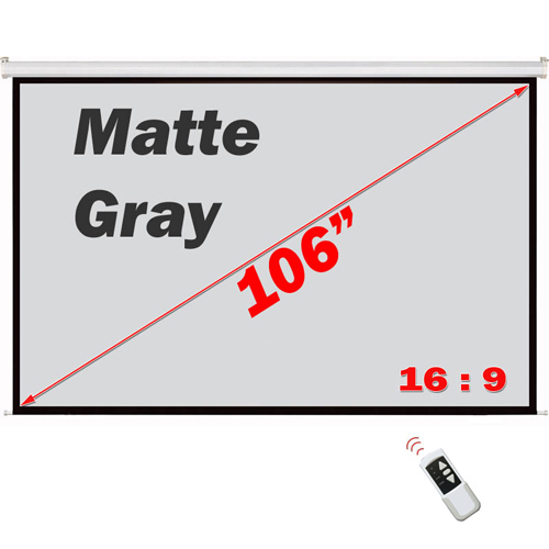 "Antra 106"" Electric Projection Screen With Remote Matte Gray 16:9 with 1.1 Gain 3D HDTV 1080p Ready"