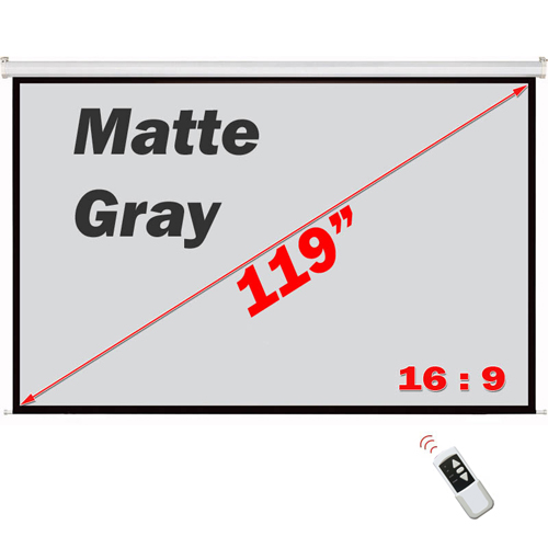 "Antra 119"" Electric Projection Screen With Remote Matte Gray 16:9 with 1.1 Gain 3D HDTV 1080p Ready"