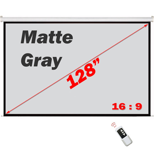 "Antra 128"" Electric Projection Screen With Remote Matte Gray 16:9 with 1.1 Gain 3D HDTV 1080p Ready"