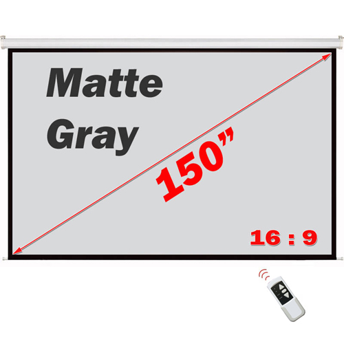 "Antra 150"" Electric Projection Screen With Remote Matte Gray 16:9 with 1.1 Gain 3D HDTV 1080p Ready"