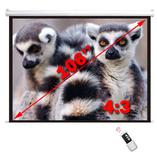 "Antra 106"" Electric Projection Screen With Remote Matte White 4:3 with 1.1 Gain 3D HDTV 1080p Ready"