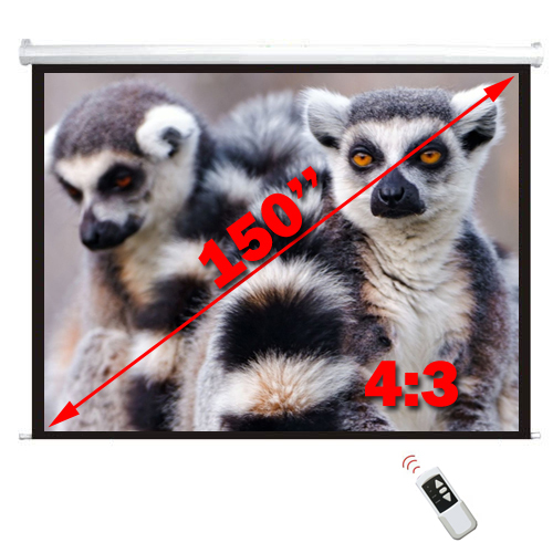 "Antra 150"" Electric Projection Screen With Remote Matte White 4:3 with 1.1 Gain 3D HDTV 1080p Ready"