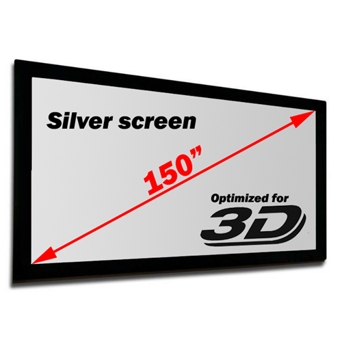 "Antra 150"" Fixed Frame Wall Projection Screen Matte Silver 3D 16:9 with 1.1 Gain 3D HDTV 1080p Ready"