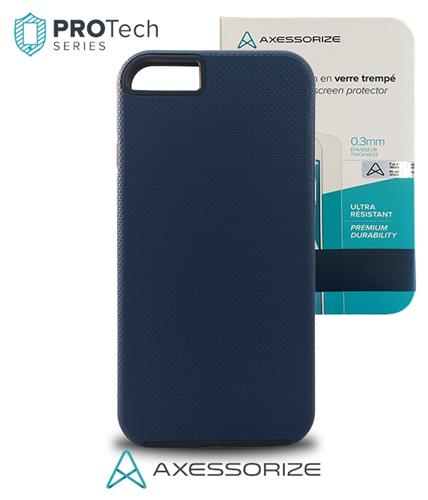 Combo Axessorize Protech Case iPhone 8/7 Cobalt Blue + Tempered Glass