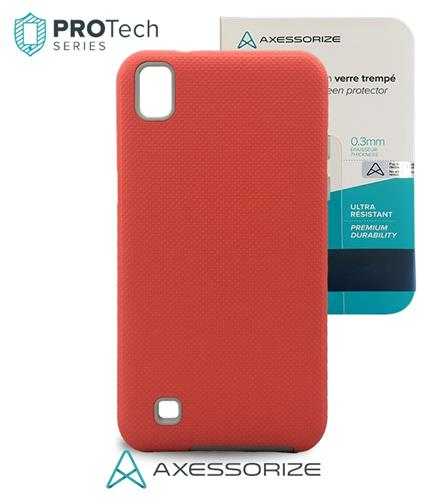 Combo Axessorize Protech Case LG X Power Pink Salmon +Tempered Glass