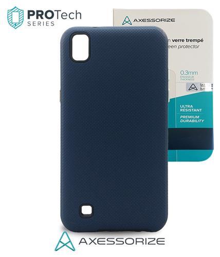 Combo Axessorize Protech Case LG X Power Blue Cobalt +Tempered Glass