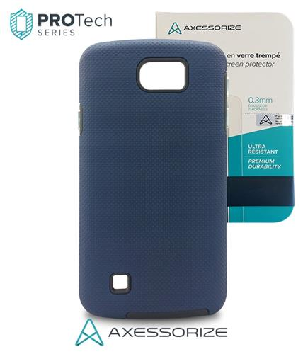 Combo Axessorize Protech Case LG K4 (2016) Blue Cobalt +Tempered Glass