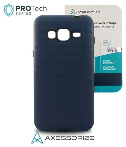 Combo Axessorize Protech Case Samsung Galaxy J3 Blue Cobalt +Tempered Glass