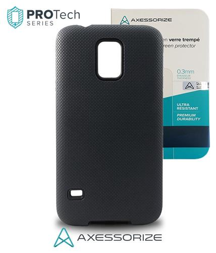 Combo Axessorize Protech Case Samsung Galaxy S5 Black + Tempered Glass