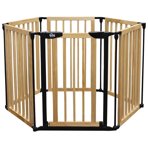 Bily Freestanding Wood Superyard Natural Wood Black Baby Gates