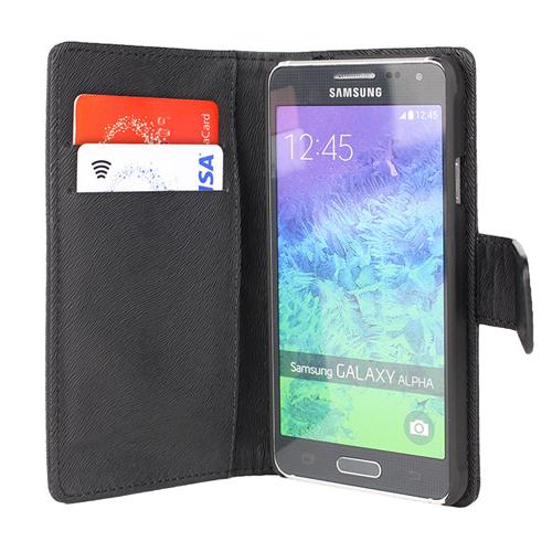 Caseco Wallet Case - For Samsung Galaxy Alpha - Black