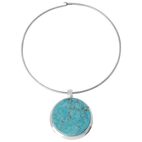 Collier à fil et pendentif à turquoise ronde semi-précieuse Basics de Robert Lee Morris