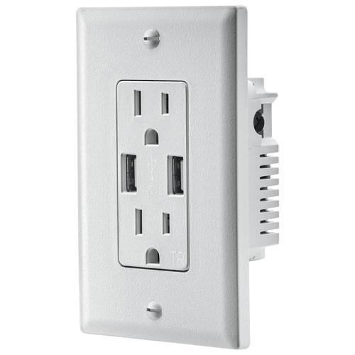 Prise de chargement USB murale double de 3,6 A d'Insignia