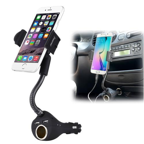 Universal Car Phone Holder with Dual Port USB Car Charger and Socket, Black
