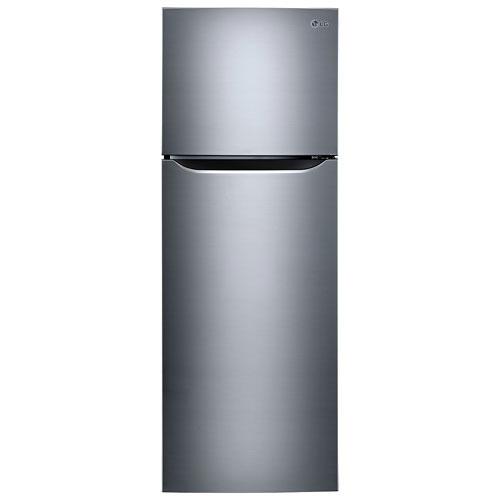 Réfrig. à congélateur sup. 11,1 pi³ 24 po de GE avec éclair. DEL (LTNC11121V) - Platine argenté