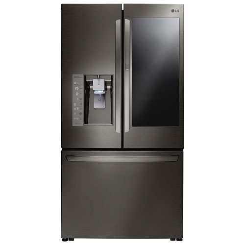 "LG 36"" 23.5 Cu. Ft. French Door Refrigerator with Water/Ice Dispenser (LFXC24796D) - Black Stainless"
