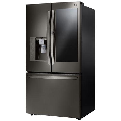 lg 36 29 6 cu ft instaview french door refrigerator lfxs30796d black stainless french. Black Bedroom Furniture Sets. Home Design Ideas