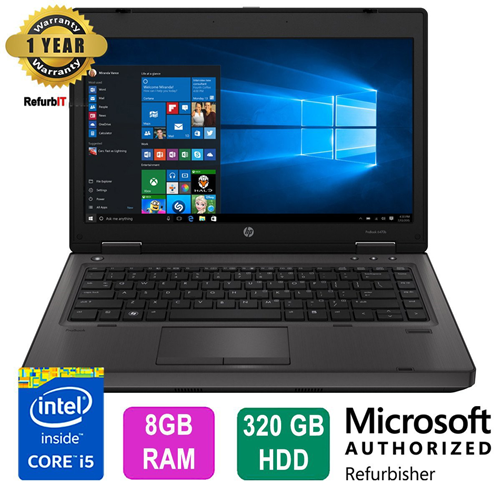 "HP ProBook 6470b Laptop, 14"" Display, Intel Core i5, 8GB RAM, 320GB HDD, DVD-RW, Windows 10 Pro-Refurbished"