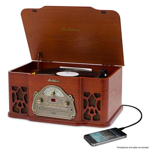 Electrohome Vinyl Record Player Classic Turntable Wood Stereo System, AM/FM Radio, CD, and AUX Input for Smartphones