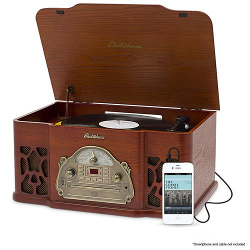Electrohome Record Player Retro Vinyl Turntable Stereo System, AM/FM, CD, Vinyl-to-MP3, & AUX Input for Smartphones