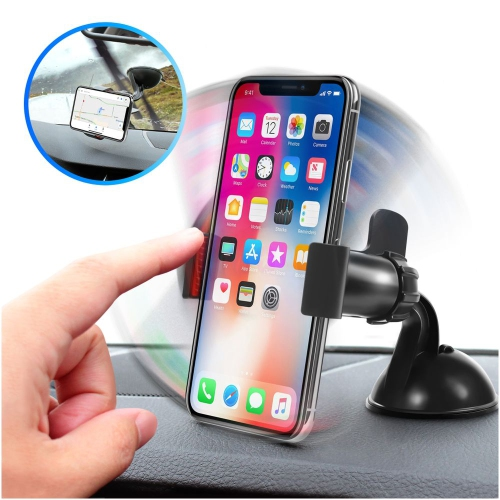 Insten 360-degree Swivel Universal Car Mount Phone Holder, Black