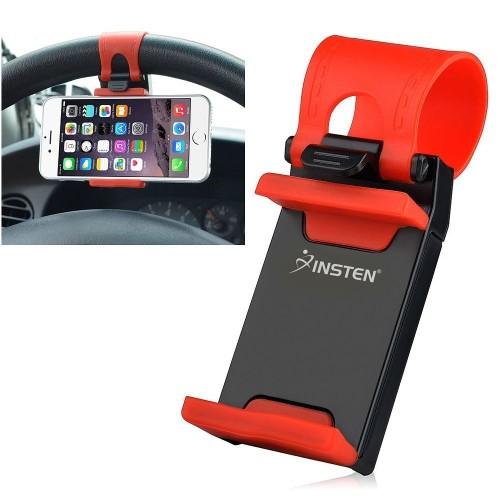 Insten Car Steering Wheel Universal Phone Holder, Black/Red