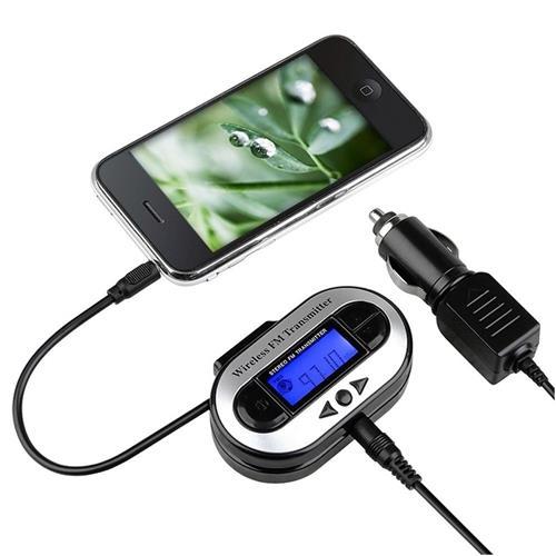 Insten All Channel FM Transmitter w/ USB Port, Black
