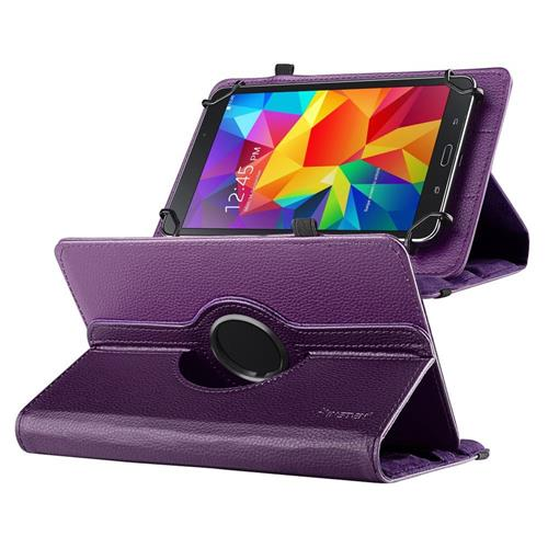"Insten Universal 7"" Tablet 360-degree Swivel Leather Case, Purple"