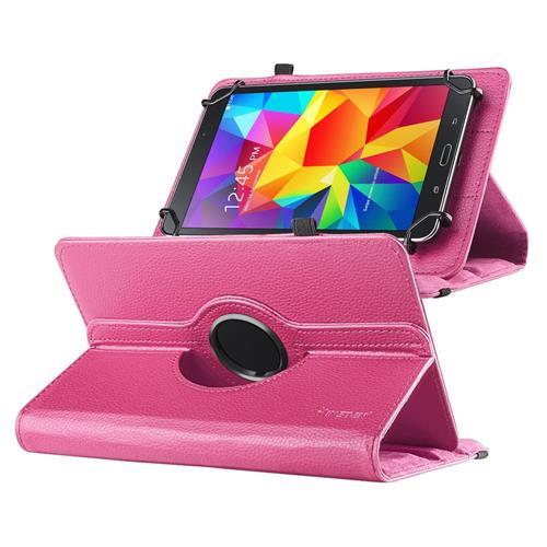 "Insten Universal 7"" Tablet 360-degree Swivel Leather Case, Hot Pink"