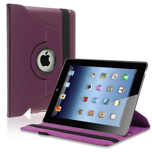 Insten 360-degree Swivel Leather Case Compatible with Apple iPad 2 / 3 / 4, Purple