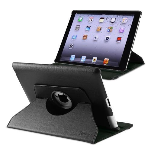 Insten 360-degree Swivel Leather Case Compatible with Apple iPad 2 / 3 / 4, Black