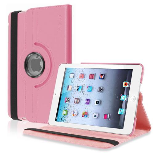 Insten 360-degree Swivel Stand Leather Case Compatible with Apple iPad Mini1/2/3, Light Pink