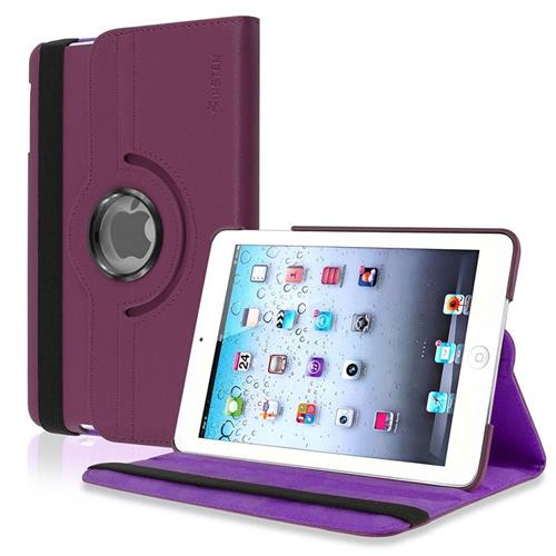Insten 360-degree Swivel Stand Leather Case Compatible with Apple iPad Mini1/2/3, Purple