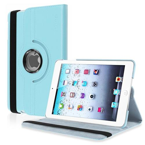 Insten 360-degree Swivel Stand Leather Case Compatible with Apple iPad Mini1/2/3, Light Blue