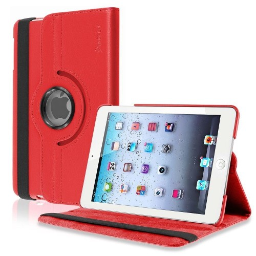 Insten 360-degree Swivel Stand Leather Case Compatible with Apple iPad Mini1/2/3, Red