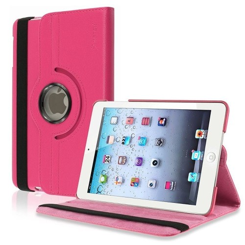 Insten 360-degree Swivel Stand Leather Case Compatible with Apple iPad Mini1/2/3, Hot Pink