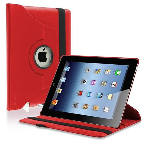 Insten 360-degree Swivel Leather Case Compatible with Apple iPad 2 / 3 / 4, Red