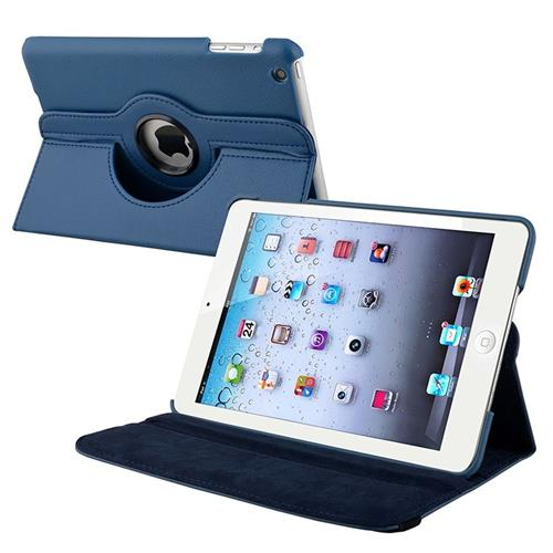 Insten 360-degree Swivel Stand Leather Case Compatible with Apple iPad Mini1/2/3, Navy Blue