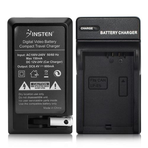 Insten Compact Battery Charger Set compatible with Canon LP-E5